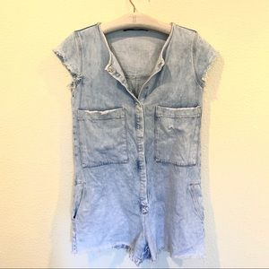 Zara frayed edge denim romper